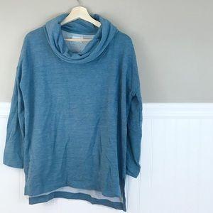 Lou & Grey Large Blue Cowl Soft Sweater